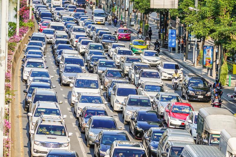 Traffic jam at Chong Nonsi. Bangkok`s traffic is usually busy during the rush hour royalty free stock photo