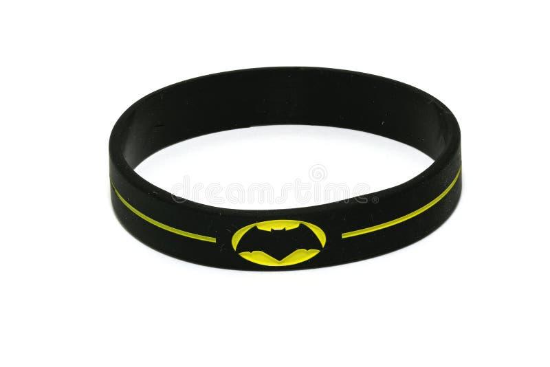 BANGKOK, THAILAND -OCTOBER 2, 2016: Batman Logo on black wristband on October 2,2016 stock photo