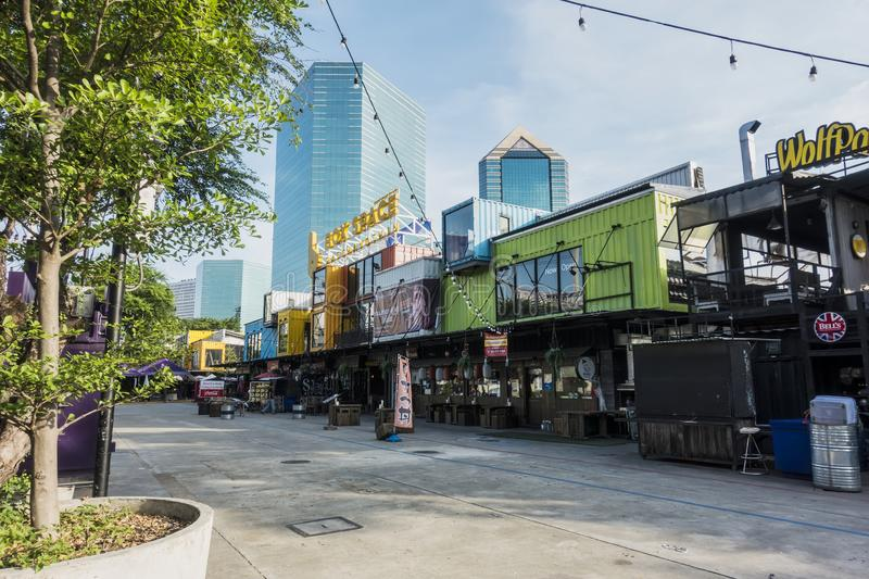 BANGKOK,THAILAND-OCTOBER 15 2019:Container cafe ,store  is an outdoor coffee shop design and builds with second-hand a sea royalty free stock image