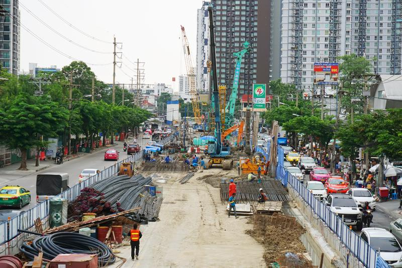 Bangkok,Thailand,October 11, 2019:Engineers and Construction workers work tunnel on road for the car could run through at Bangkok royalty free stock photo