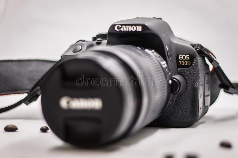 Bangkok Thailand-October 12, 2019  : front view of a Canon EOS 700D slr camera isolated on white,  Focus on model name stock photo