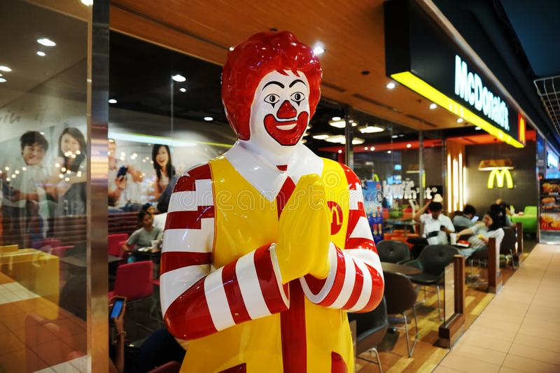 BANGKOK,THAILAND - October 7,2019 : Mcdonald`s Mascot in front of McDonald`s cafe at Central world, Bangkok Thailand royalty free stock photos