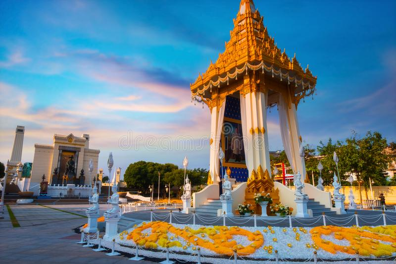 The replica of royal crematorium of His Majesty late King Bhumibol Adulyadej built for the royal funeral at King Rama I Park royalty free stock photography