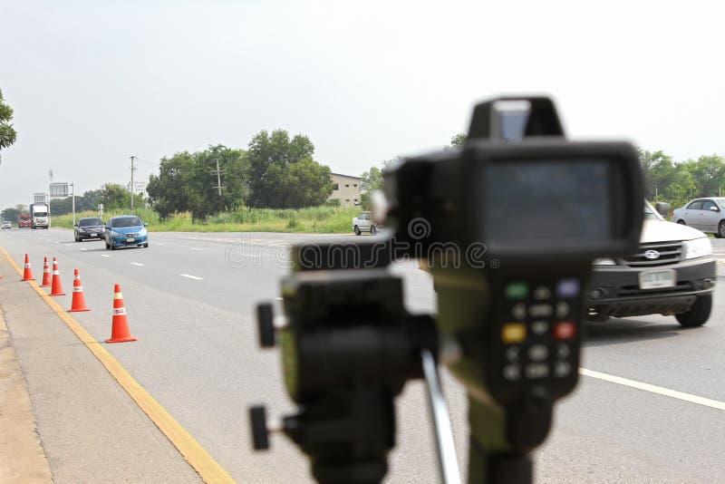 Bangkok, THAILAND - October 3, 2018: Speed Radar Laser Camera Gun Electronic Device Equipment Tool Limit Speed Vehicle Roadway. Monitor Display Roadway royalty free stock photo