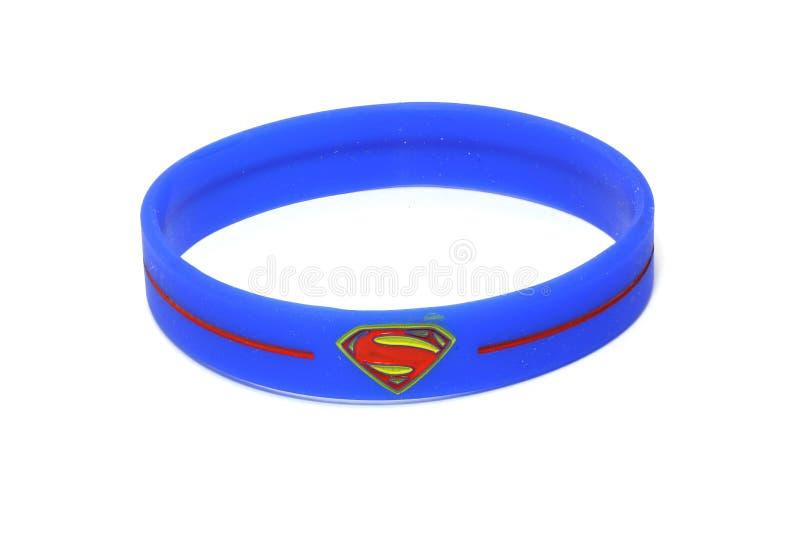 BANGKOK, THAILAND -OCTOBER 2, 2016: Superman Logo on Blue wristband on October 2,2016 royalty free stock images