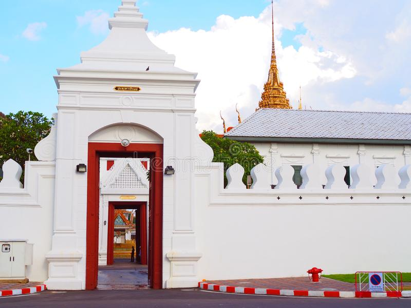 Tewa Pirom grand palace gate opened, directly through inside royal chapel royalty free stock image