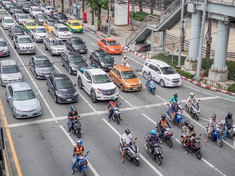 BANGKOK, THAILAND - October 6, 2018: Traffic nears gridlock on a busy road in the city center. City traffic.  stock photo