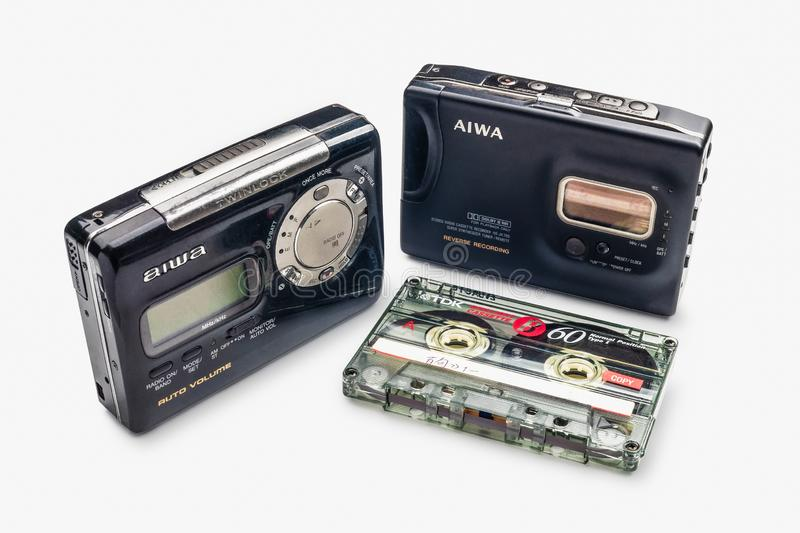 BANGKOK - THAILAND OCTOBER 2018 31 : Vintage walkman and cassete tape, Walkman is Portable Stereo Cassette Auto Reverse Tape Play royalty free stock photos
