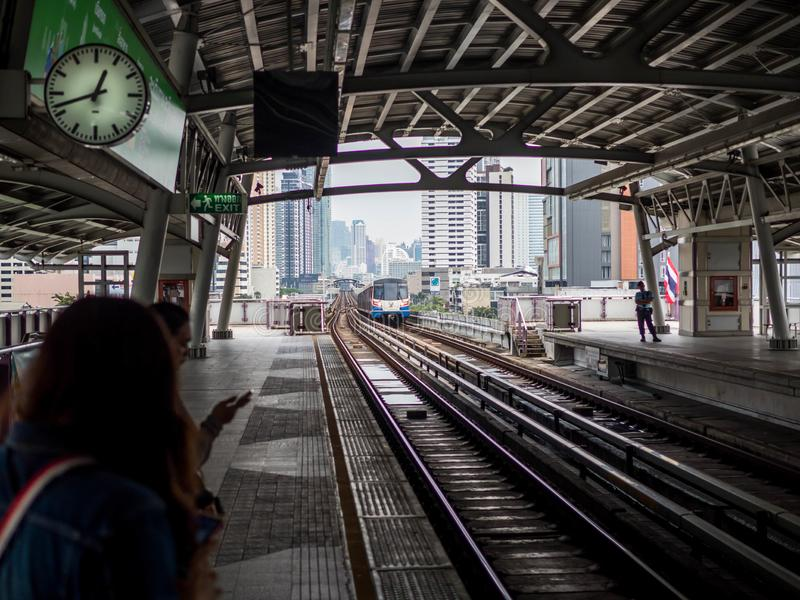 BANGKOK, THAILAND - Oktober 6, 2018: BTS-de lege post van de hemeltrein in Bangkok Thailand stock afbeeldingen