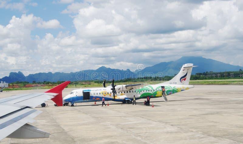 BANGKOK, THAILAND - OKTOBER 18, 2013: Vliegtuigen op vliegveld van luchthaven Don Mueang royalty-vrije stock afbeelding