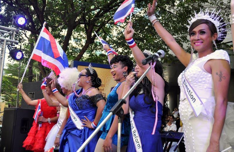 Bangkok, Thailand: Operation Shut Down Bangkok Protestors. A sextet of lady boys performing at an anti-government demonstration during the Shut Down Bangkok stock images