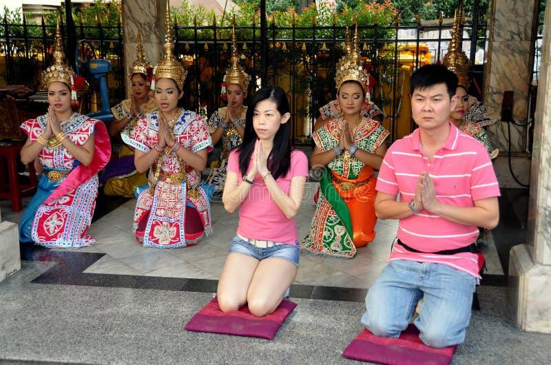 Bangkok, Thailand: People Praying at Erawan Shrine stock photography