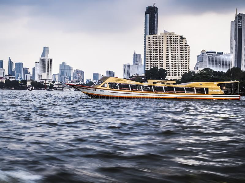 Bangkok Thailand river of Bangkok and skyscraper high rise building cityscape riverscape taxi boa royalty free stock images
