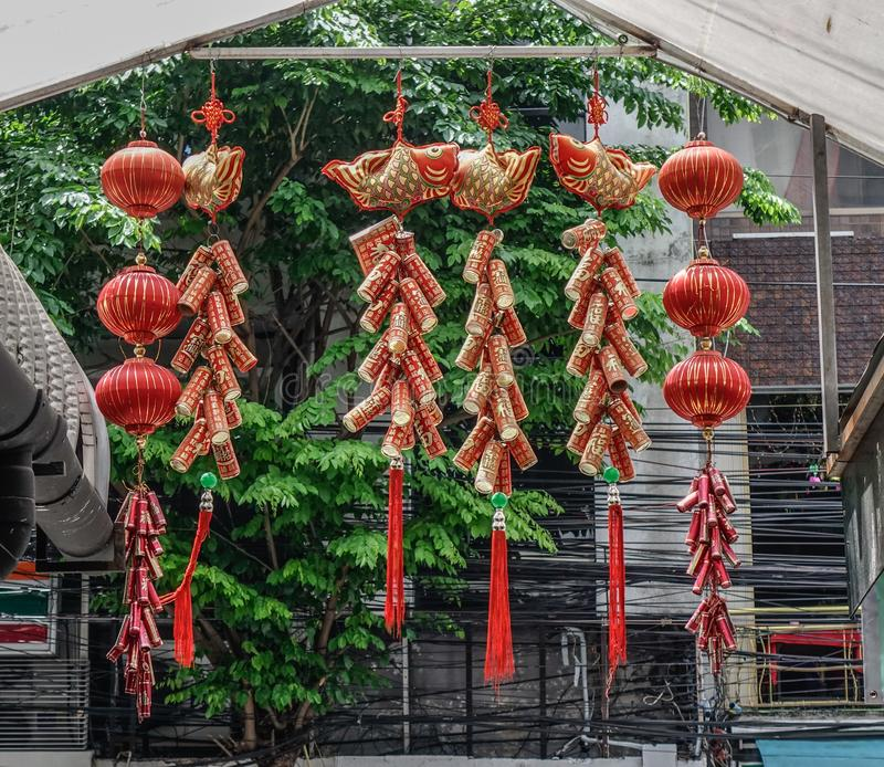 Chinese lucky things in Lunar New Year stock images