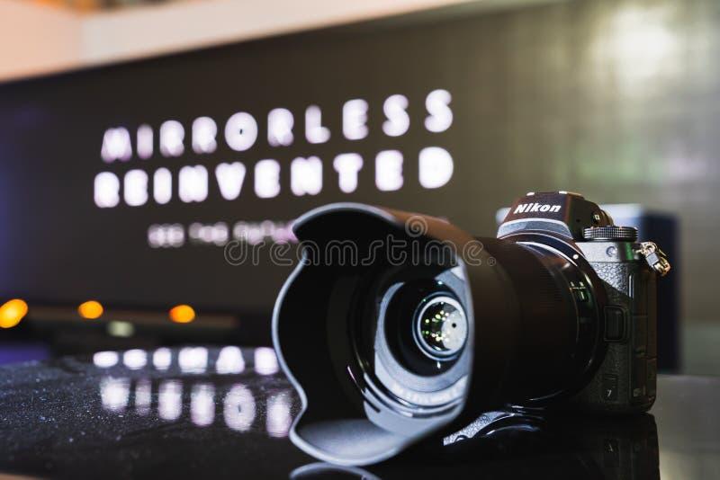 Bangkok, Thailand - Sep 21, 2018: New Nikon Z7 full-frame mirrorless digital camera, display showcase by the presentation stage stock image