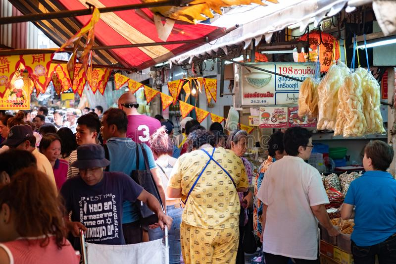 Bangkok Thailand, Sep 26 2019, People  are  shoping at old chinese market for Vegetarian Festival stock photography