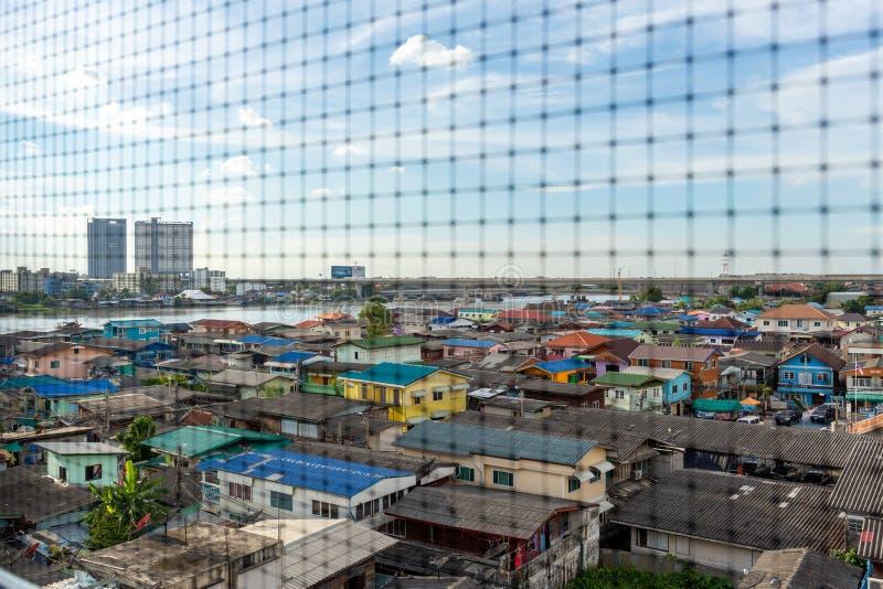 BANGKOK, THAILAND - Sep 25, 2018 - Top view of residential houses next to Chao Phraya River in Bangkok Thailand. stock image