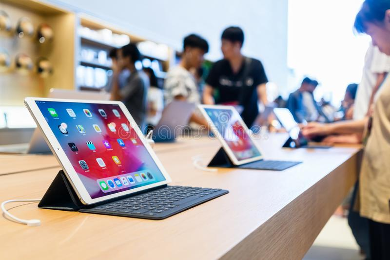 Apple Store New Product. Ipad Pro with smart keyboard display at apple store in Iconsiam royalty free stock photos