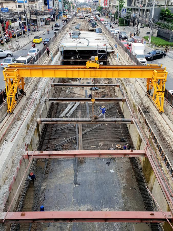 Bangkok, Thailand - September 29, 2018: The car tunnel under construction with machinery supports for alleviate traffic problems stock photo