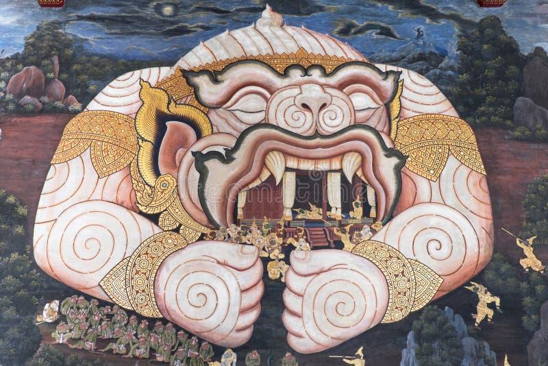 BANGKOK THAILAND SEPTEMBER 25: Målning av Hanuman på väggen på W royaltyfri foto