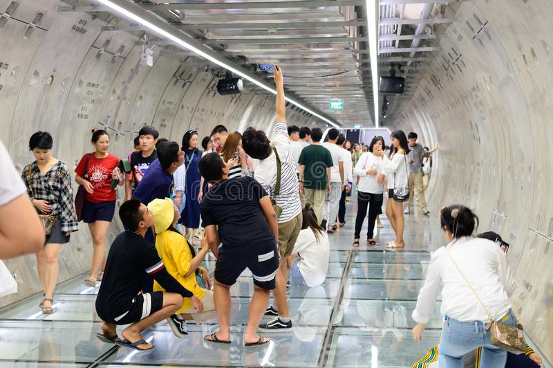 Bangkok, Thailand - September 22, 2019 : People are passing and take photo in newly open tunnel connect between MRT subway station. And Samyan Mitrtown stock photography