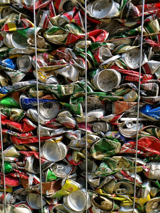 Bangkok, Thailand - September 20, 2018 : pile of old aluminum beverage cans prepare for recycle. Environment recycling metal aluminium tin reuse pressed stock photography