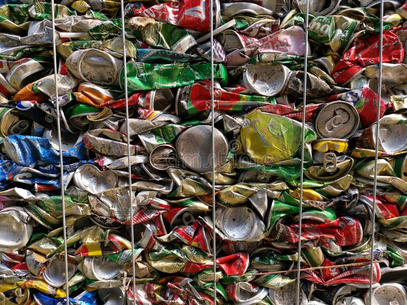 Bangkok, Thailand - September 20, 2018 : pile of old aluminum beverage cans prepare for recycle. Environment recycling metal aluminium tin reuse pressed royalty free stock image