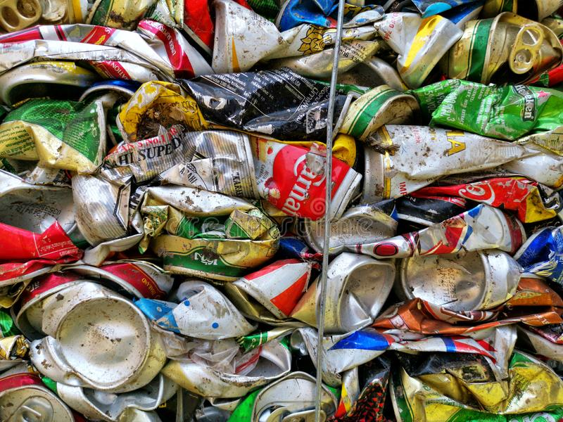 Bangkok, Thailand - September 20, 2018 : pile of old aluminum beverage cans prepare for recycle. Environment recycling metal aluminium tin reuse pressed royalty free stock photography