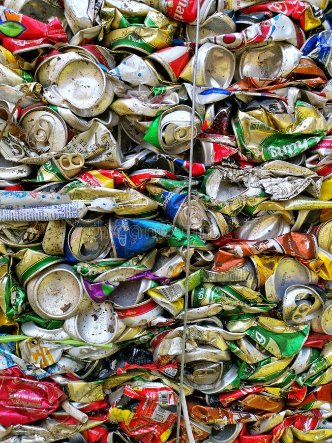 Bangkok, Thailand - September 20, 2018 : pile of old aluminum beverage cans prepare for recycle. Environment recycling metal aluminium tin reuse pressed royalty free stock photos