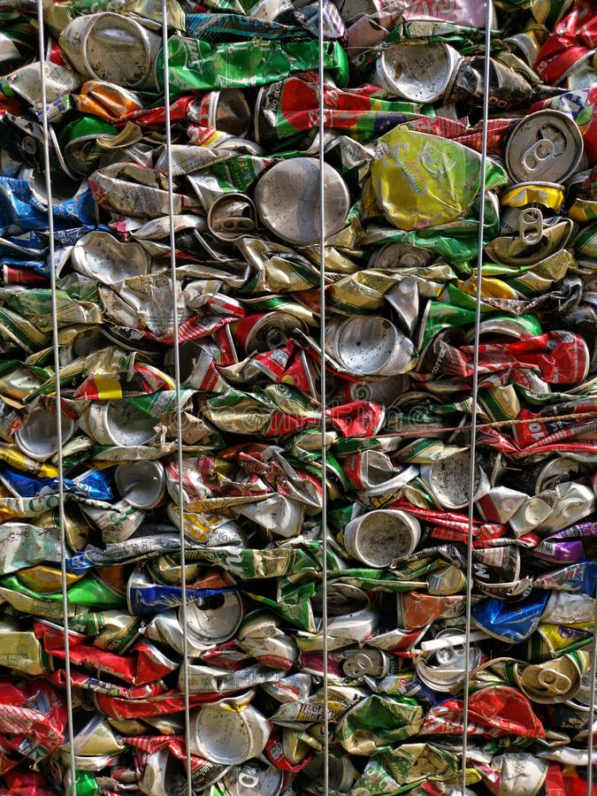 Bangkok, Thailand - September 20, 2018 : pile of old aluminum beverage cans prepare for recycle. Environment recycling metal aluminium tin reuse pressed stock image