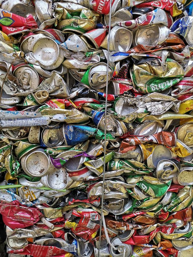 Bangkok, Thailand - September 20, 2018 : pile of old aluminum beverage cans prepare for recycle. Environment recycling metal aluminium tin reuse pressed stock images