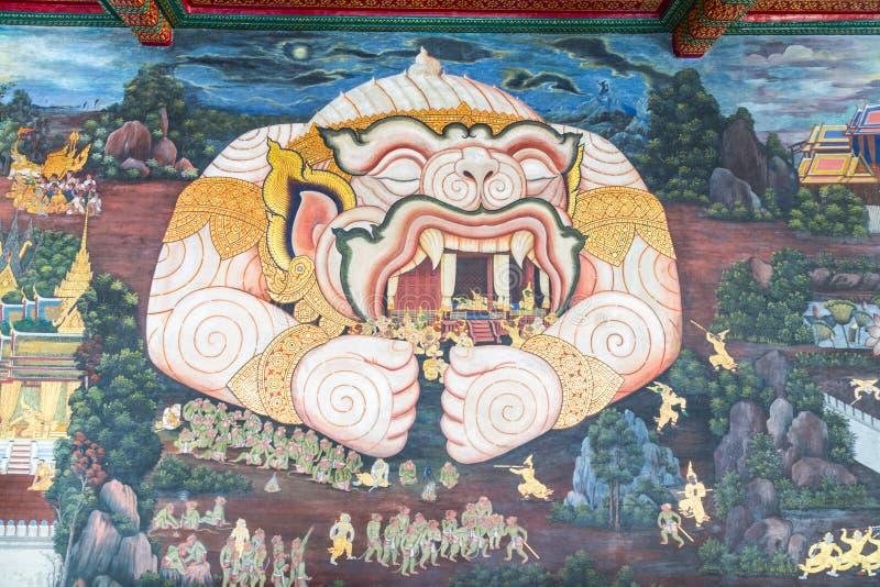 Bangkok, Thailand - 26. September 2015: Schöne Wandmalerei lizenzfreie stockfotos