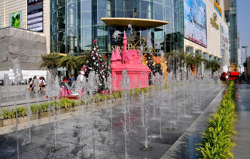 Bangkok, Thailand: Siam Paragon Fountains Editorial Stock Image