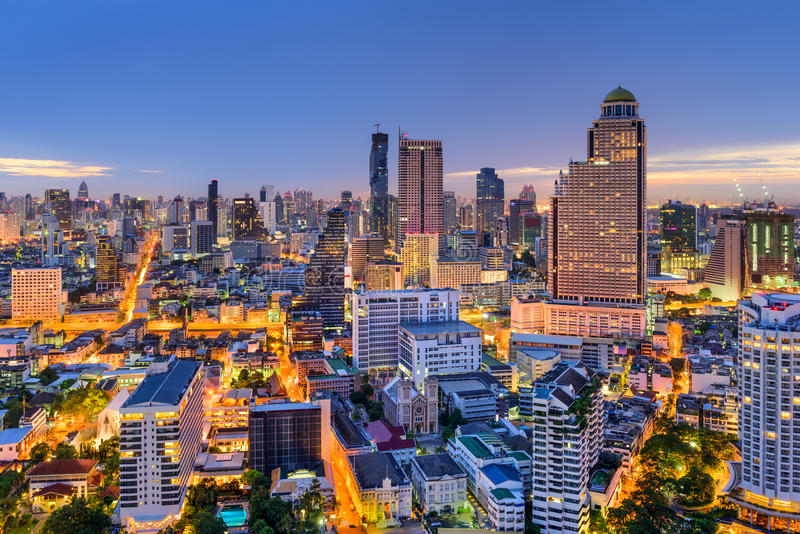 Bangkok Thailand Skyline. Bangkok, Thailand skyline at dawn stock image