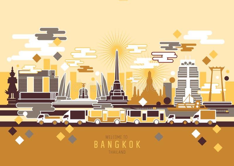 Bangkok Thailand stad vektor illustrationer