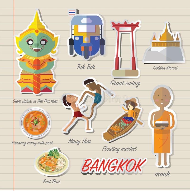 Bangkok Thailand symbol och lopp stock illustrationer