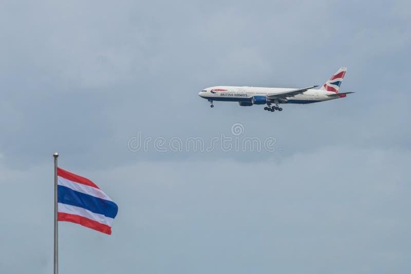 Bangkok, Thailand, 12th Aug 2018: British Airways Reg. no. G-YMMF B777-236(ER) Flight BAW9 from LHR landing to BKK. Bangkok, Thailand, 12th Aug 2018: British royalty free stock photos