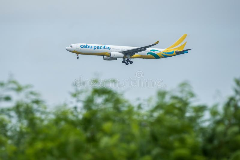 Bangkok, Thailand, 12th Aug 2018: Cebu Pacific Reg. no. RP-C3348 A330-343 Flight CEB929 from MNL landing to BKK stock photos