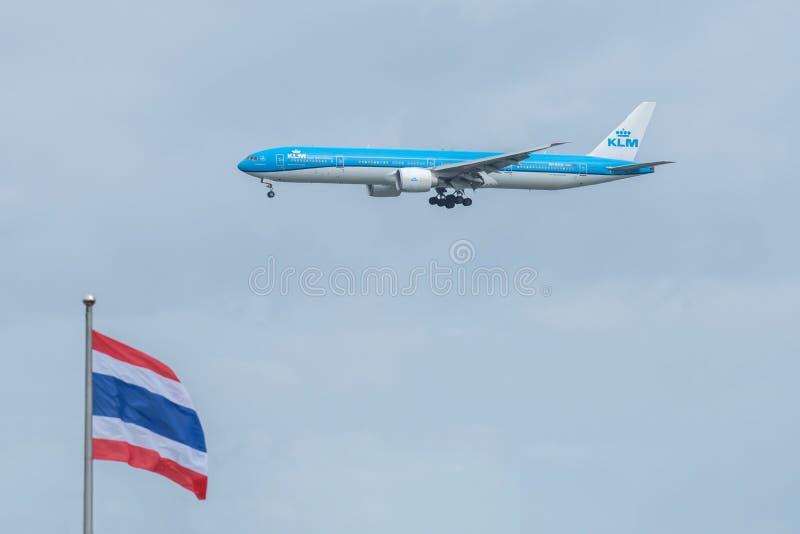 Bangkok, Thailand, 12th Aug 2018: KLM Reg. no. PH-BVO B777-306E. R Flight KLM875 from AMS landing to BKK stock images