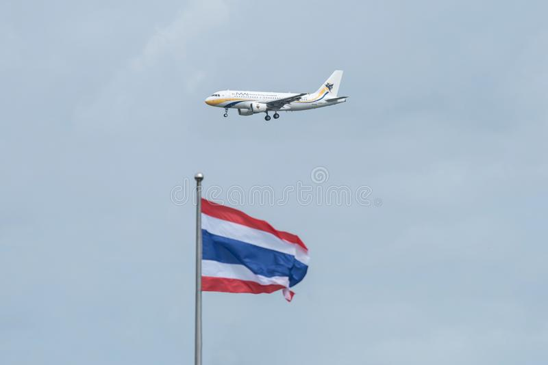 Bangkok, Thailand, 12th Aug 2018: Myanmar Airways Reg. no. XY-AGR A319-112 Flight MMA335 from RGN landing to BKK royalty free stock image