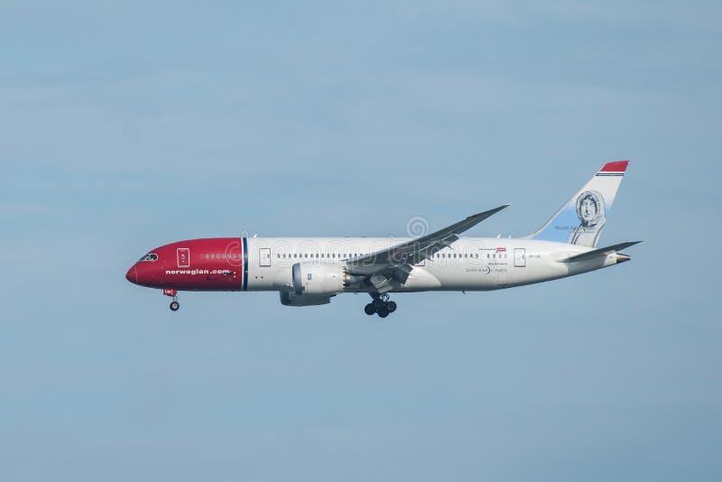 Bangkok, Thailand, 12th Aug 2018: Norwegian Reg. no. LN-LNE B 787-8 Dreamliner Flight DY7209 from CPH landing to BKK royalty free stock image