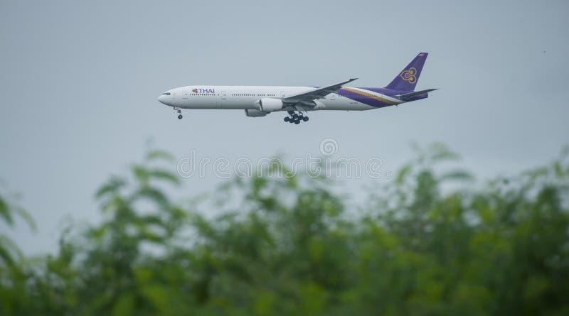 Bangkok, Thailand, 12th Aug 2018: Thai Airways Reg. no. HS-TKD B. 777-3D7 Flight TG402 from SIN landing to BKK royalty free stock photography