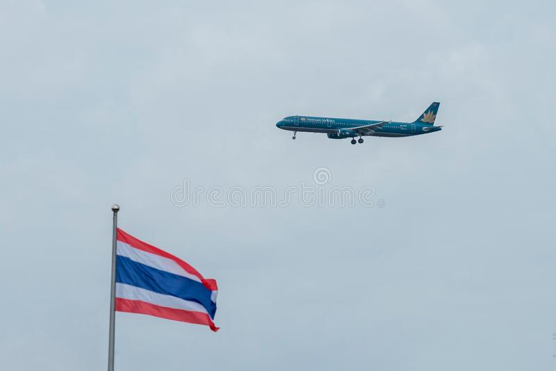 Bangkok, Thailand, 12th Aug 2018: Vietnam Airlines Reg. no. VN-A338 A321-231 Flight HVN601 from SGN landing to BKK stock image