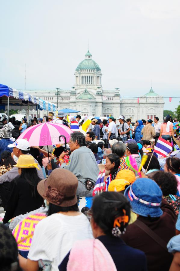 Bangkok/Thailand - 11 24 2012: Thai people protest against the gouvernment at the Royal Plaza.  royalty free stock photos