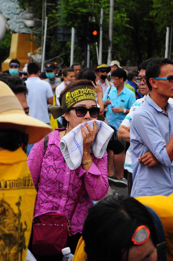 Bangkok/Thailand - 11 24 2012: Thai people protest against the gouvernment at the Royal Plaza.  royalty free stock photo