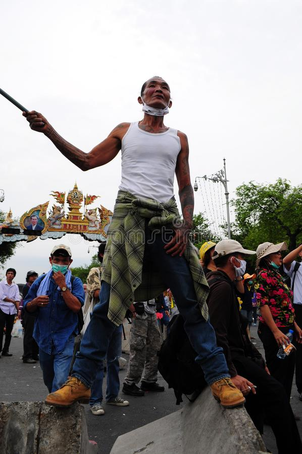 Bangkok/Thailand - 11 24 2012: Thai people protest against the gouvernment at the Royal Plaza.  stock photography