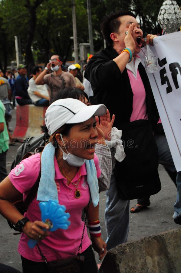 Bangkok/Thailand - 11 24 2012: Thai people protest against the gouvernment at the Royal Plaza.  royalty free stock images
