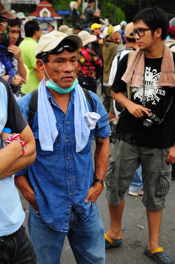 Bangkok/Thailand - 11 24 2012: Thai people protest against the gouvernment at the Royal Plaza.  stock photo