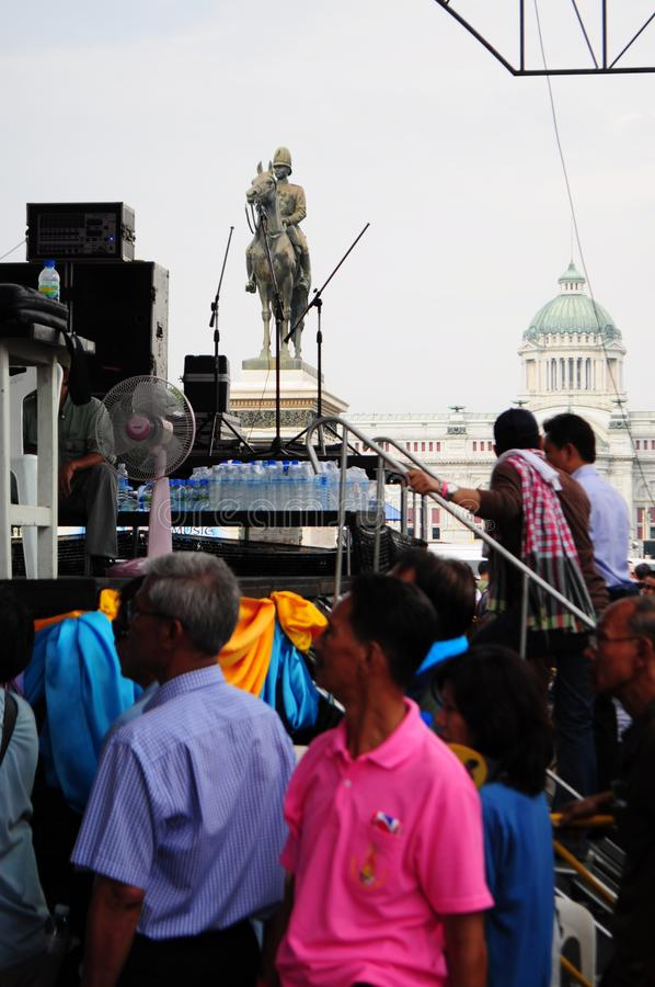 Bangkok/Thailand - 11 24 2012: Thai people protest against the gouvernment at the Royal Plaza.  royalty free stock image