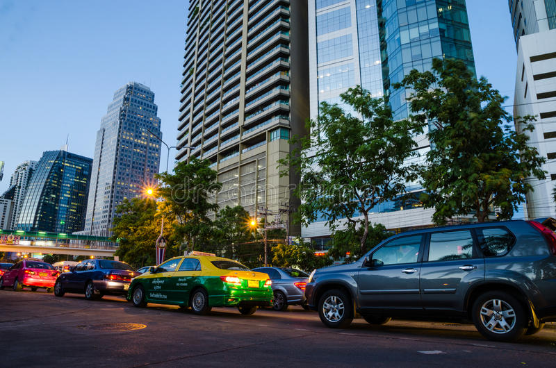 Bangkok, Thailand : Traffic at night royalty free stock photography